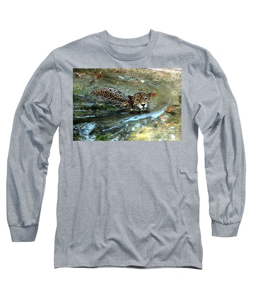 Long Sleeve T-Shirt featuring the photograph Jaguar In For A Swim by Kathy  White