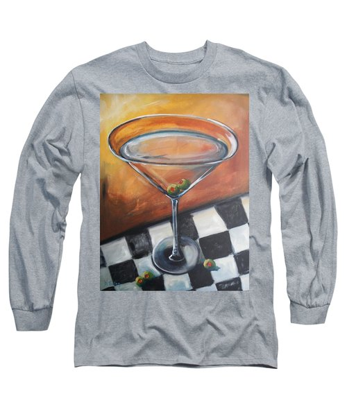 Martini On Checkered Tablecloth Long Sleeve T-Shirt