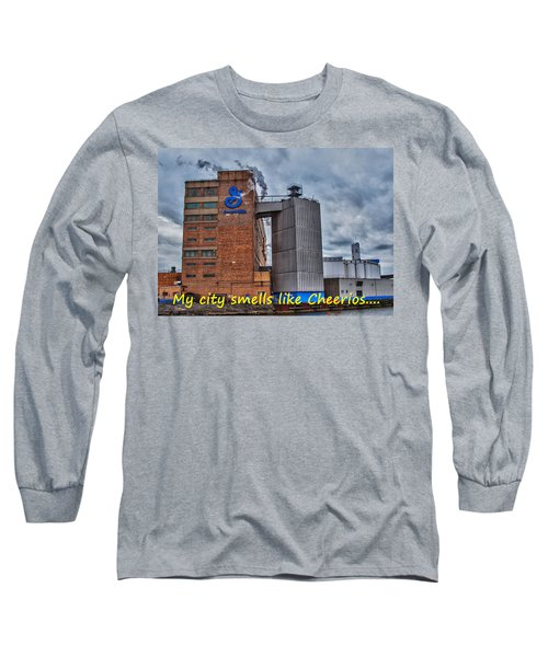 My City Smells Like Cheerios Long Sleeve T-Shirt by Guy Whiteley