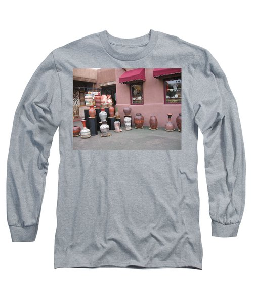 Long Sleeve T-Shirt featuring the photograph Native Jars And Vases Market by Dora Sofia Caputo Photographic Art and Design
