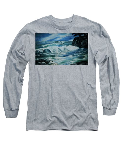 Ocean Waves Long Sleeve T-Shirt by Christy Saunders Church
