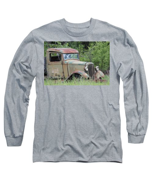 Abandoned Truck In Field Long Sleeve T-Shirt by Athena Mckinzie