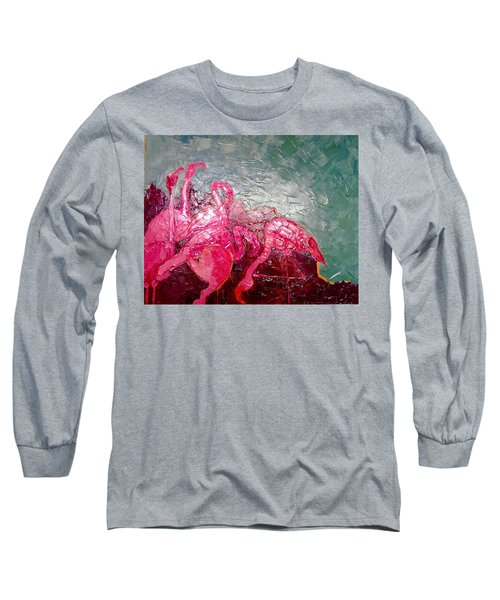 Pink Flamingoes Long Sleeve T-Shirt by Ana Maria Edulescu