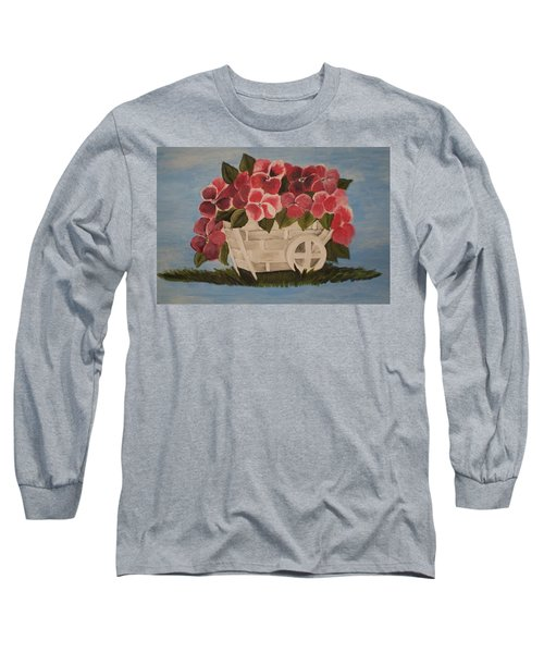 Pink Flowers In A Wagon Basket Long Sleeve T-Shirt by Christy Saunders Church