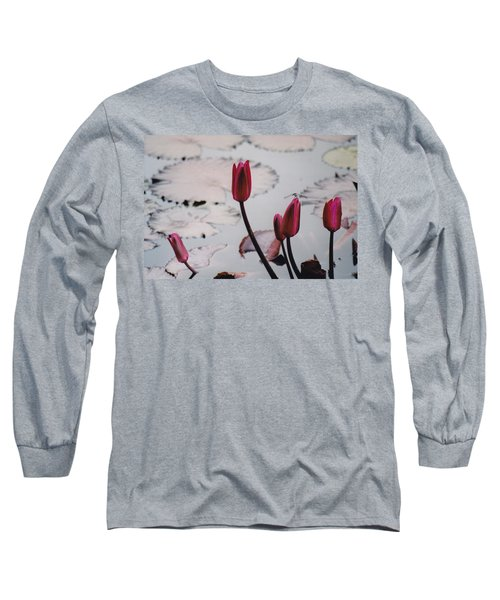 Pink Water Lily Buds Long Sleeve T-Shirt