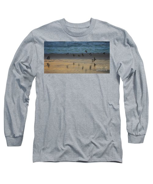 Plovers At Play On A Stormy Morning Long Sleeve T-Shirt