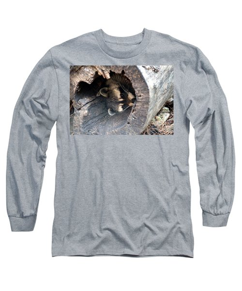 Long Sleeve T-Shirt featuring the photograph Raccoon In Hiding by Kathy  White