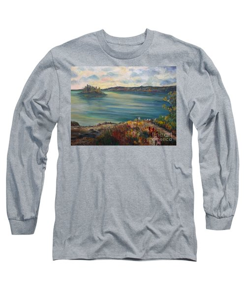 Long Sleeve T-Shirt featuring the painting Rainy Lake Michigan by Julie Brugh Riffey