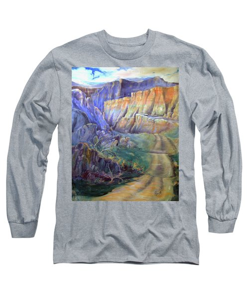 Road To Rainbow Gulch Long Sleeve T-Shirt by Gertrude Palmer