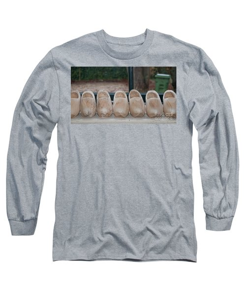 Long Sleeve T-Shirt featuring the digital art Rows Of Wooden Shoes by Carol Ailles