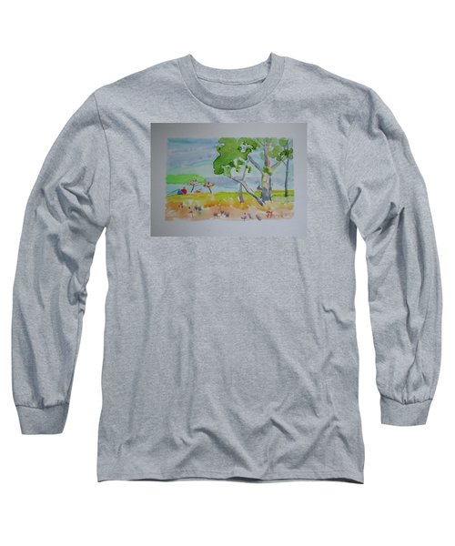 Long Sleeve T-Shirt featuring the painting Sandpoint Bathers by Francine Frank