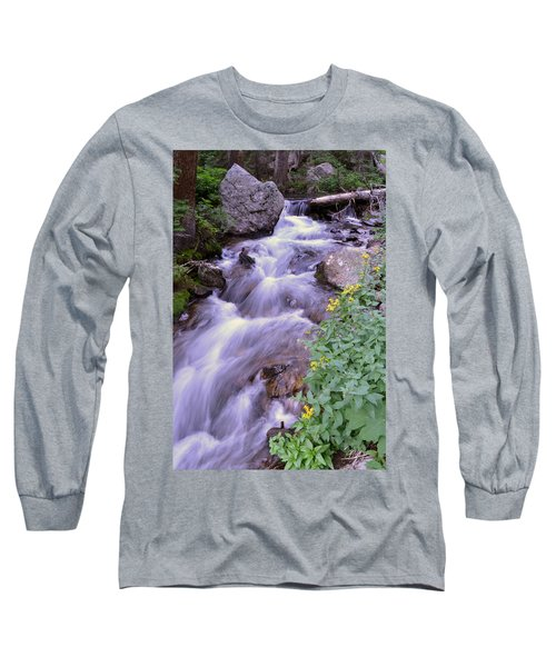 Long Sleeve T-Shirt featuring the photograph Silky Stream by Zawhaus Photography