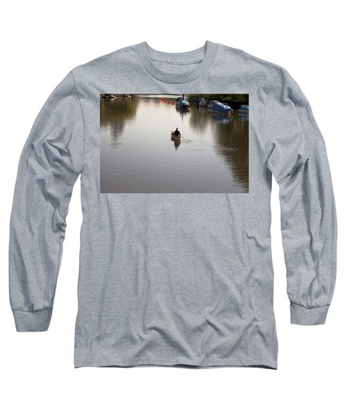 Long Sleeve T-Shirt featuring the photograph Solo Rowing by Maj Seda