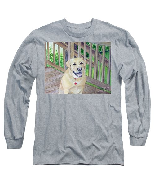 Long Sleeve T-Shirt featuring the painting Spencer On Porch by Carol Flagg