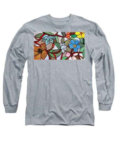 Long Sleeve T-Shirt featuring the painting Stained Glass Wild  Flowers by Cynthia Amaral