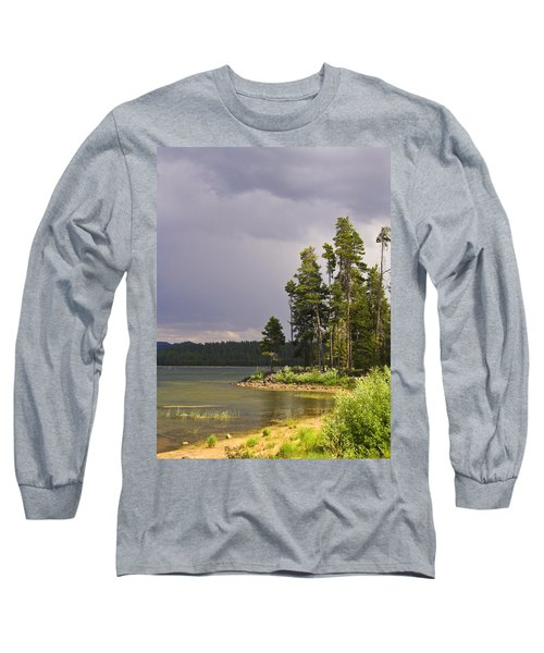 Storm Clouds Over A Lake Long Sleeve T-Shirt by Anne Mott