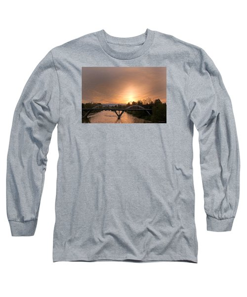 Sunburst Sunset Over Caveman Bridge Long Sleeve T-Shirt by Mick Anderson