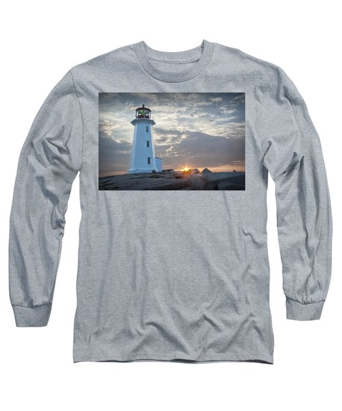 Sunrise At Peggys Cove Lighthouse In Nova Scotia Number 041 Long Sleeve T-Shirt
