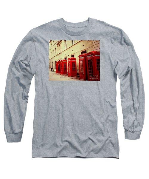 Telephone Booths Long Sleeve T-Shirt by Ranjini Kandasamy