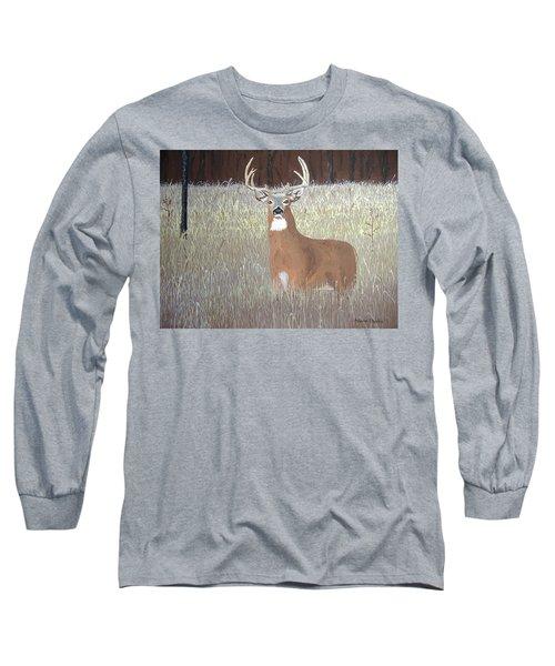 Long Sleeve T-Shirt featuring the painting The Buck Stops Here by Norm Starks