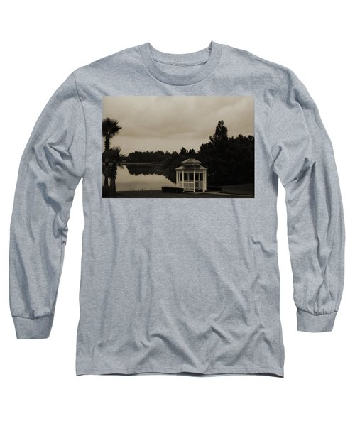 Long Sleeve T-Shirt featuring the photograph The Gazebo At The Lake by DigiArt Diaries by Vicky B Fuller