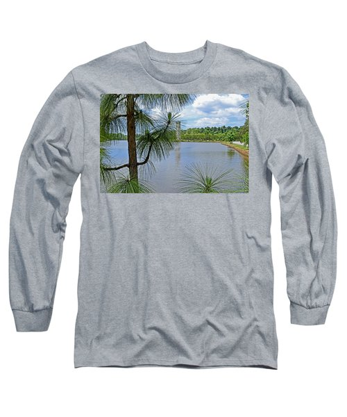 Long Sleeve T-Shirt featuring the photograph Tower Thru The Pine by Larry Bishop