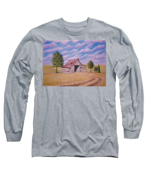 Long Sleeve T-Shirt featuring the pastel Tractor Shed by Stacy C Bottoms
