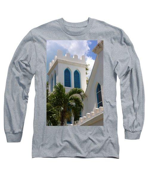 Long Sleeve T-Shirt featuring the photograph Trinity Presbyterian Church Tower by Ed Gleichman