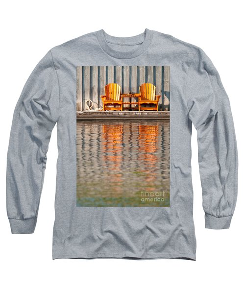 Long Sleeve T-Shirt featuring the photograph Two Wooden Chairs by Les Palenik
