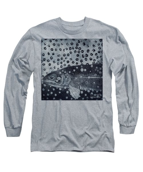 Unique Etching Artwork - Brown Trout  - Trout Waters - Trout Brook - Engraving Long Sleeve T-Shirt