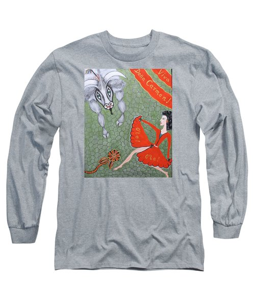 Long Sleeve T-Shirt featuring the painting Viva Dona Carmen by Marie Schwarzer