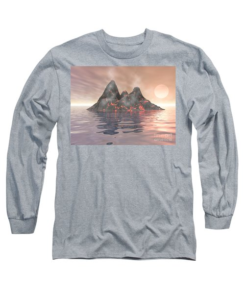 Long Sleeve T-Shirt featuring the digital art Volcano Island by Phil Perkins