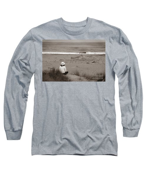 Watching The Ocean In Black And White Long Sleeve T-Shirt