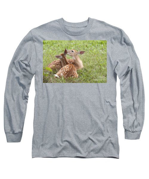 Long Sleeve T-Shirt featuring the photograph Whispering Fawns by Jeannette Hunt