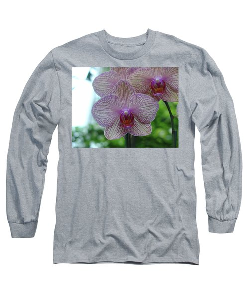 White And Pink Orchid Long Sleeve T-Shirt