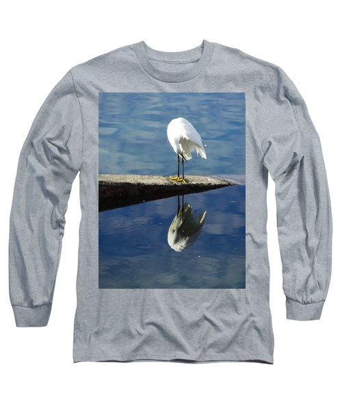 Long Sleeve T-Shirt featuring the digital art White Heron by Anne Mott