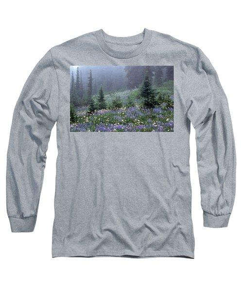 Wildflower Meadow Mt Rainier Long Sleeve T-Shirt