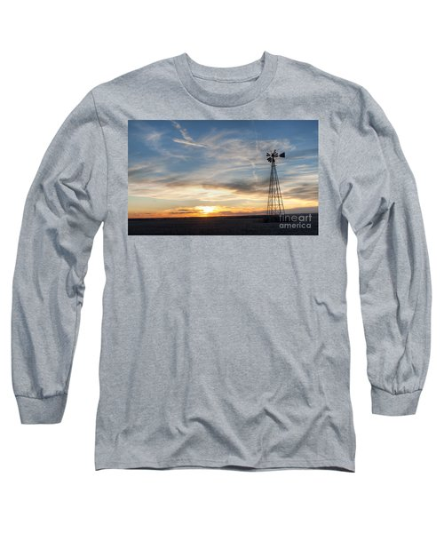 Windmill And Sunset Long Sleeve T-Shirt