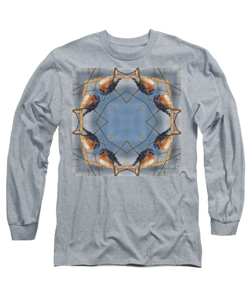 Winter Bluebird Kaleidoscope Long Sleeve T-Shirt