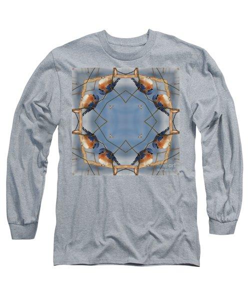 Winter Bluebird Kaleidoscope Long Sleeve T-Shirt