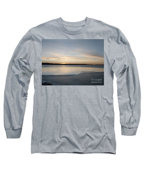 Long Sleeve T-Shirt featuring the photograph Winter Sunset Over Lake by Art Whitton
