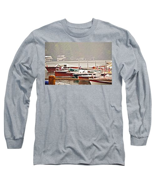 Wood Boats In The Rain Long Sleeve T-Shirt