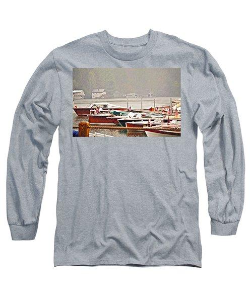 Wood Boats In The Rain Long Sleeve T-Shirt by Susan Leggett