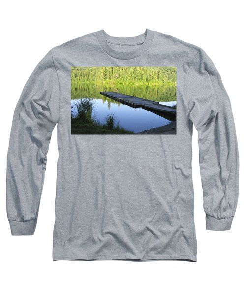 Long Sleeve T-Shirt featuring the digital art Wooden Dock On Lake by Anne Mott
