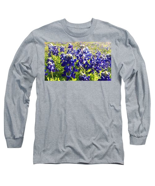 Long Sleeve T-Shirt featuring the painting  Bluebonnet Morning by Karen Kennedy Chatham