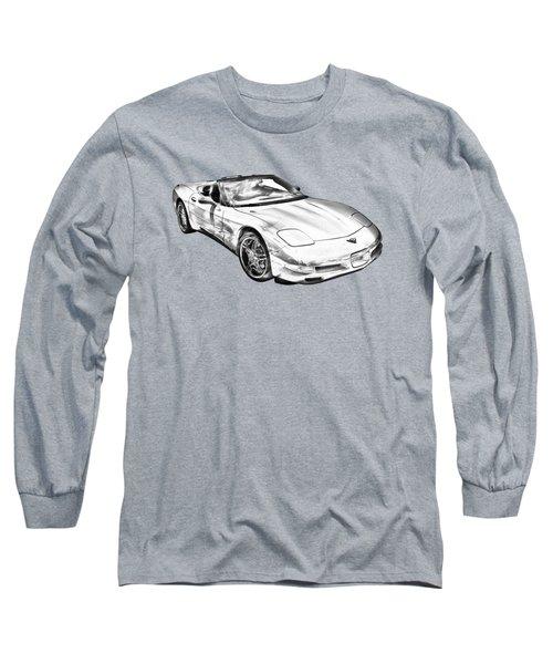 C5 Corvette Convertible Muscle Car Illustration Long Sleeve T-Shirt by Keith Webber Jr