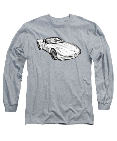 C5 Corvette Convertible Muscle Car Illustration Long Sleeve T-Shirt