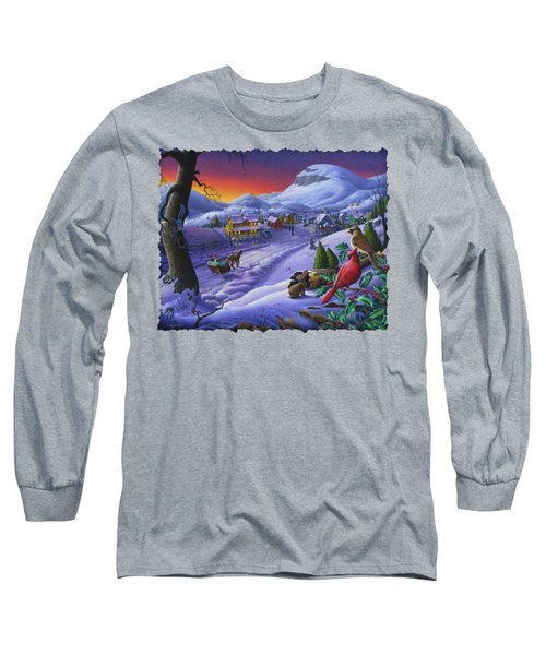 Christmas Sleigh Ride Winter Landscape Oil Painting - Cardinals Country Farm - Small Town Folk Art Long Sleeve T-Shirt