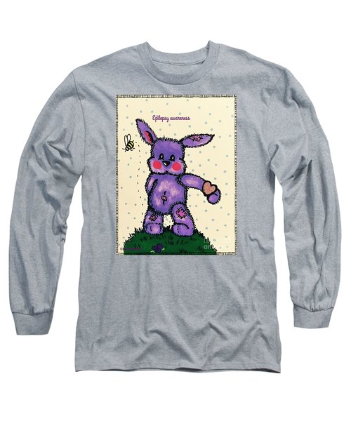Epilepsy Awareness Bunny Long Sleeve T-Shirt by MaryLee Parker