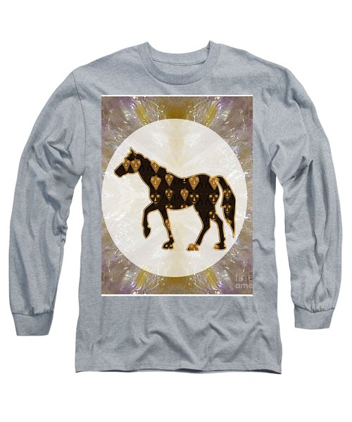 Horse Prancing Abstract Graphic Filled Cartoon Humor Faces Download Option For Personal Commercial  Long Sleeve T-Shirt by Navin Joshi